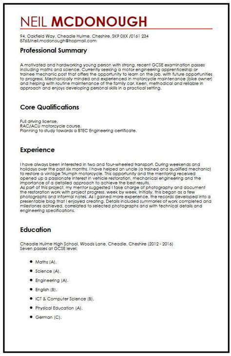Cv Template For Secondary School Student by High School Curriculum Vitae Template