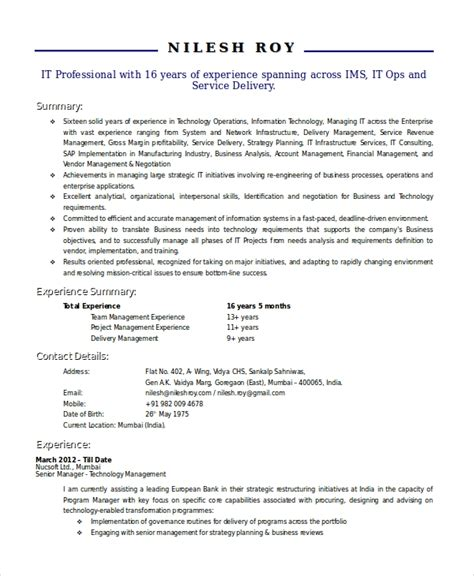 Technical Resume Template by Technical Resume Template 6 Free Word Pdf Document