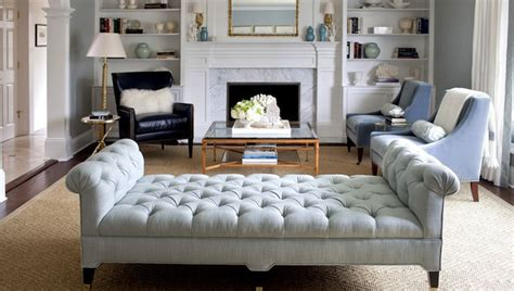 tufted bench living room morgan harrison home