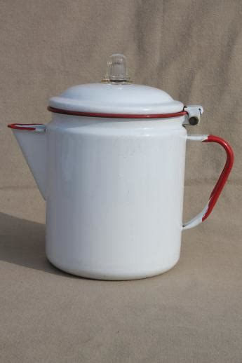 vintage red white enamelware coffee pot red band enamel primitive farm kitchen cookware