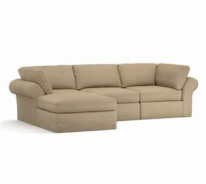 pb air slipcovered 4 piece sofa with chaise sectional With pottery barn chaise sofa sectional