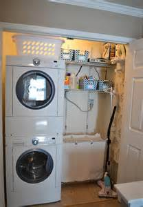 cool utility room design with inset stackable washer and