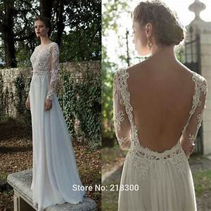 Aliexpresscom buy backless long sleeve lace wedding for Open back wedding dresses lace
