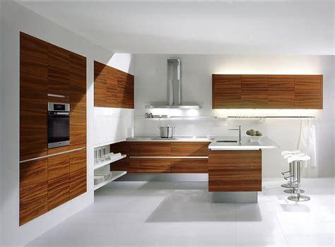 Offene Küche Mit Theke In Teak Und Hochglanz Weiß