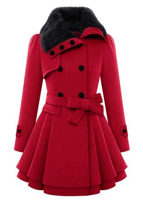 solid fur collar coat  belt fairyseason