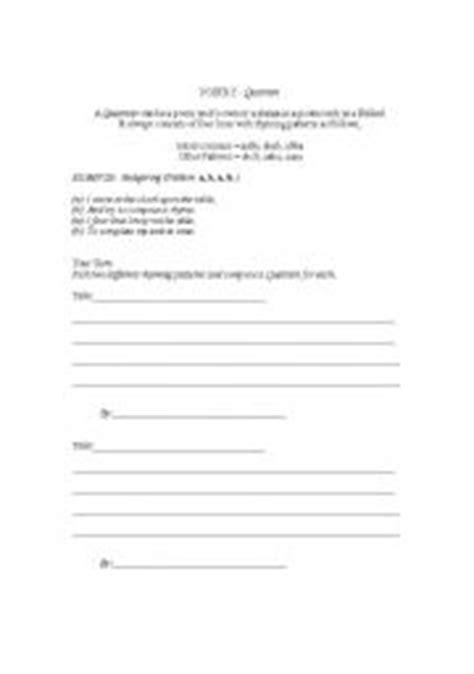 worksheets poetry write a quatrain