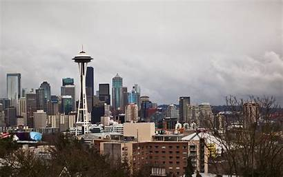 Seattle Rain Skyline Washington Wallpapers State Desktop