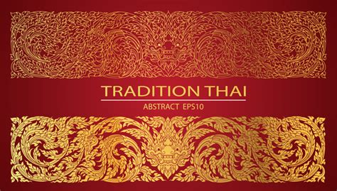 abstract  thai tradition pattern vector