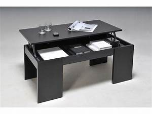 Table Basse Rectangulaire Bois : table basse rectangulaire en bois l100cm avec plateau relevable newton noir ~ Teatrodelosmanantiales.com Idées de Décoration