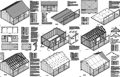 Shed Plans 16x20 Free by 16x20 Ft Guest House Storage Shed With Porch Plans P81620