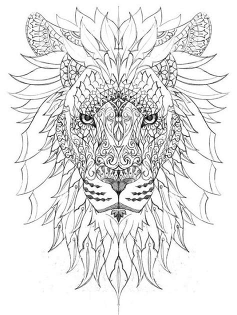 Impressive dodle art of Lion difficult coloring pages for adults (With images) | Lion coloring