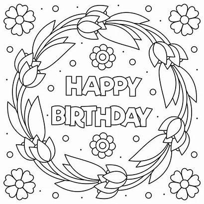 Birthday Happy Coloring Vector Premium