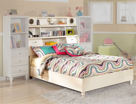 White Youth Full Bookcase Bed With Audio Speakers
