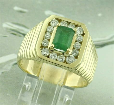 solid yellow gold mens natural colombian emerald
