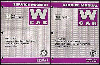 free car manuals to download 2005 chevrolet monte carlo regenerative braking 2005 chevy impala monte carlo repair shop manual original 2 vol set