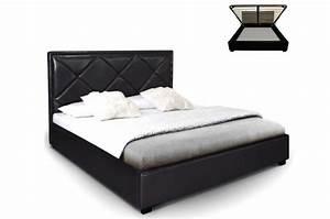 140x190 Lit Coffre : lit coffre en simili cuir noir nethos 140x190 cm lit design pas cher ~ Teatrodelosmanantiales.com Idées de Décoration