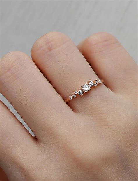 cluster ring twig engagement ring gold mini