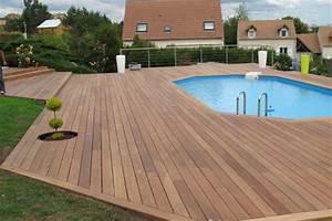 terrasse en bois piscine With ordinary maison bois sur plots 15 caillebotis en bois pour toit terrasse
