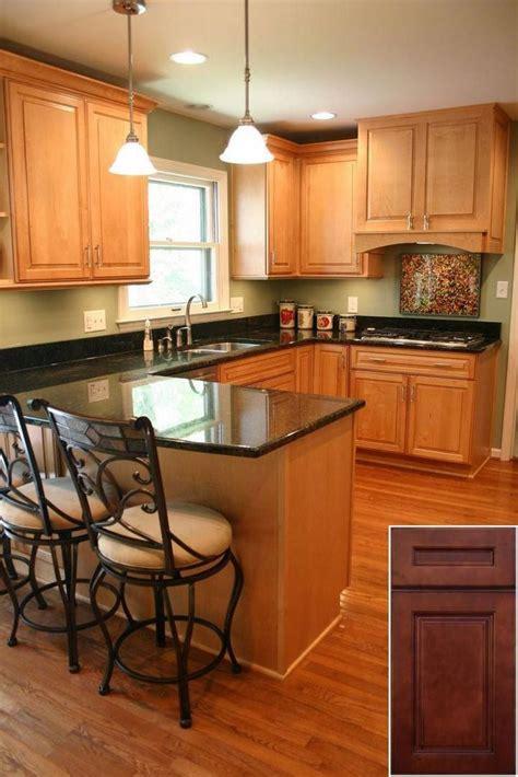medium oak kitchen cabinets    green kitchen
