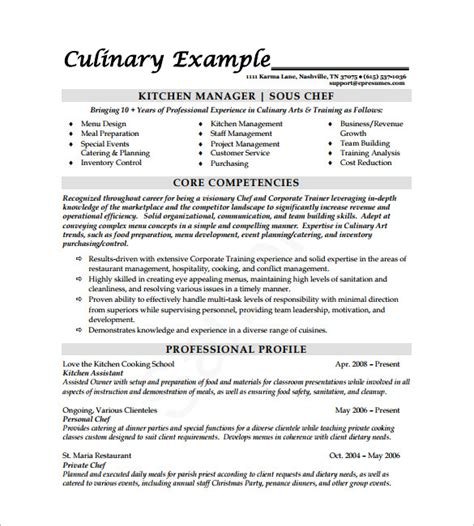 chef resume free excel templates