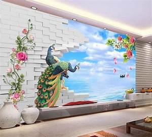 Non woven wallpaper 3D brick Peacock seaside scenery ...