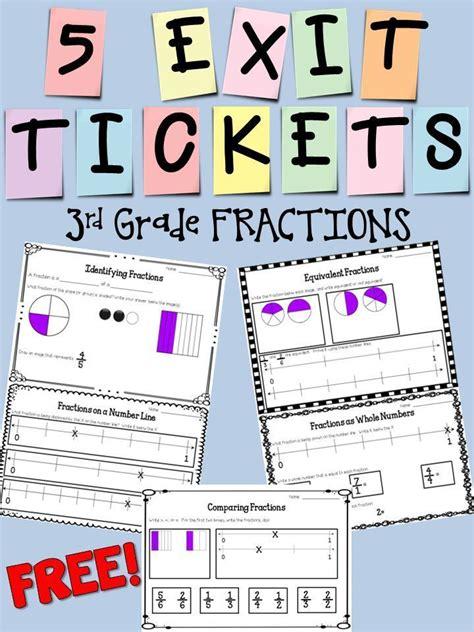 grade fractions exit ticket set freebie