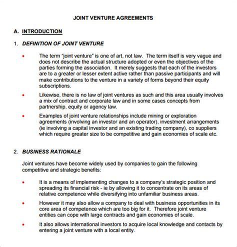 joint venture agreement template 10 joint venture templates sle templates