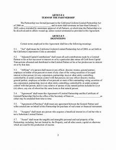 sample california family limited partnership With articles of partnership template