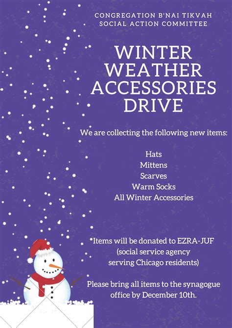 bnai tikvah social action committee winter weather accessories drive