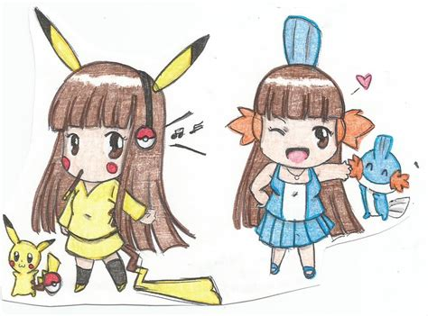 pikachu and mudkip gijinka remake by lorenavldz09 on