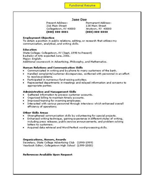 19966 exles of a functional resume a functional resume my easy a s to z s