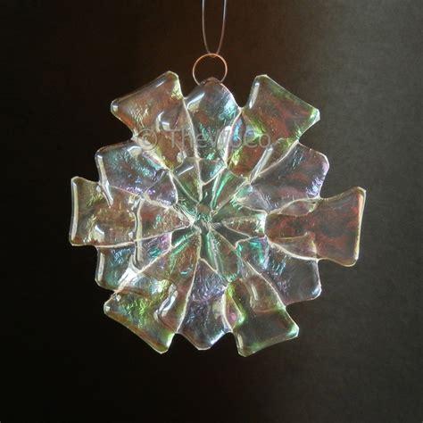 fleur iridized fused glass snowflake ornament suncatcher