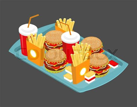 Fast Food Big Set. Many Meal On Tray. ...