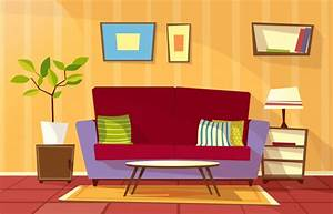 Cartoon living room interior background template. cozy ...