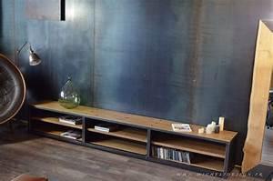 Meuble Bois Et Acier : meuble tv multim dia acier bois 3 m sur mesure et d montable micheli design meuble tv ~ Teatrodelosmanantiales.com Idées de Décoration