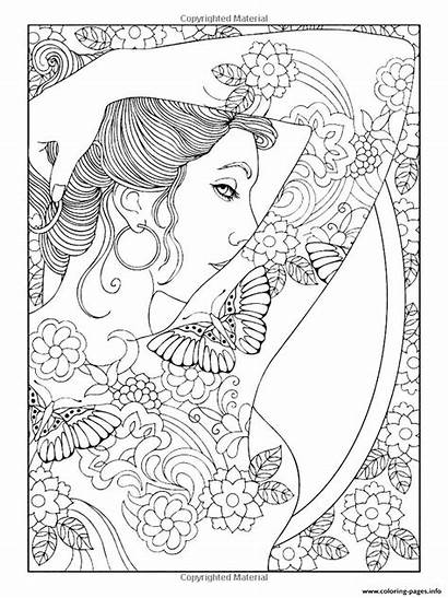 Coloring Woman Adult Shoulder Pages Tattooed Printable