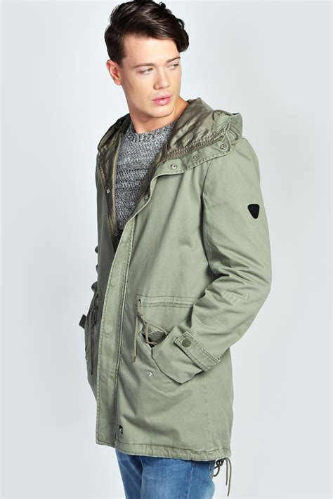 mens light jacket boohoo mens lightweight cotton festival cotton parka