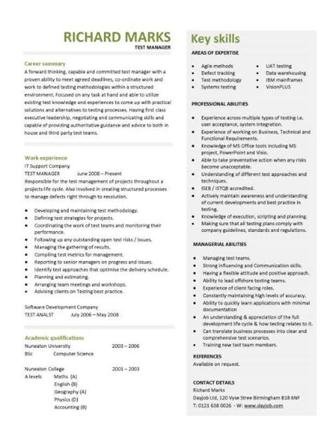 Attention Grabbing Resume Summary by Free Cv Templates Resume Exles Free Downloadable Curriculum Vitae Key Skills