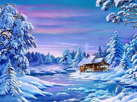 landscape winter frozen river house trees  snow