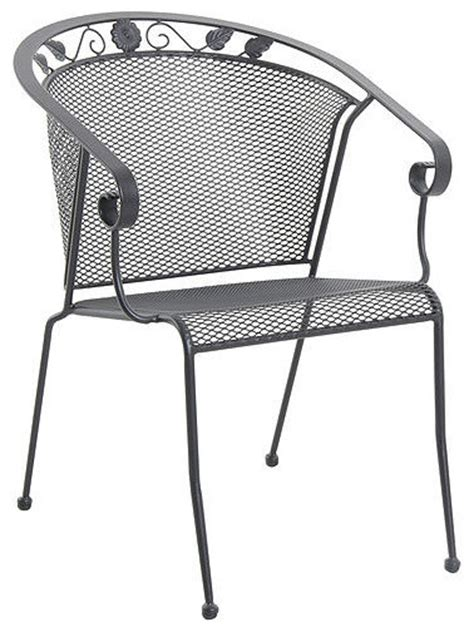 oxford iron stack mesh chair black set of 4
