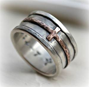 Mens cross wedding band rustic hammered cross ring oxidized for Men s religious wedding rings