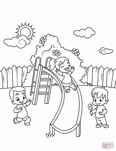 Children Coloring Slide Down Colorare Colorear Disegni