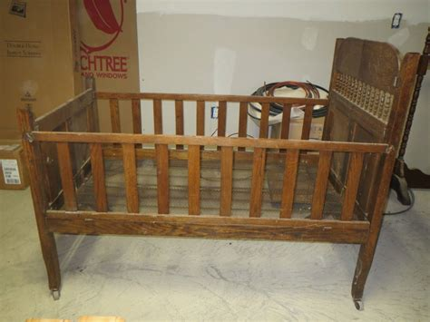 Fantastic Antique 1800's Folding Baby Crib Bed Wood All