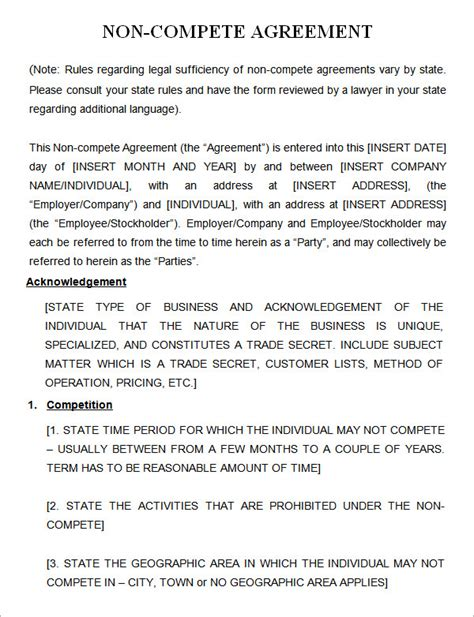 Non Compete Agreement Template 7 Sle Non Compete Agreement Templates To