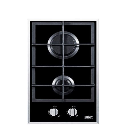 two burner cooktop 12 in gas on glass cooktop in black with 2 burners gc2bgl