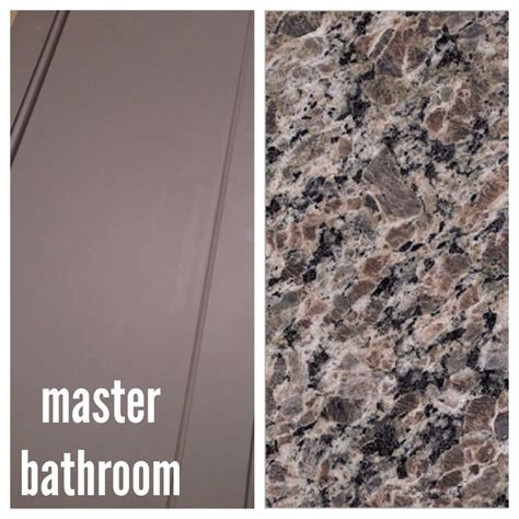 master bath gray taupe cabinets and new caledonia