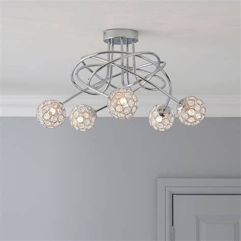 b q kitchen lighting ceiling circle chrome effect 5 l ceiling light 4228