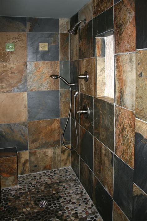 Slate Tile Bathroom Designs by Darker Than I Want But I Like The Concept Note Pebbled
