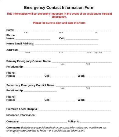 emergency contact sheet rota template
