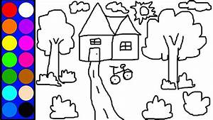 Learn Colors Lovely House Coloring Page Learn Diy Drawing